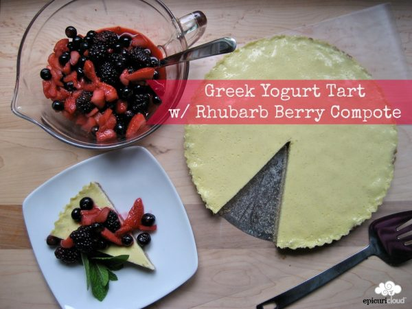 Greek Yogurt Tart with Whole Wheat Walnut Crust and Rhubarb Berry Compote