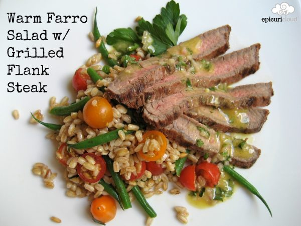 Warm Farro Salad w/ Grilled Flank Steak