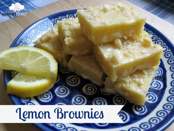 Lemon Brownies w/ Macadamia Nuts & White Chocolate Chips