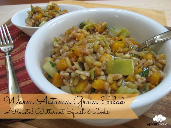 Warm Autumn Grain Salad w/ Roasted Butternut Squash and Leeks Recipe
