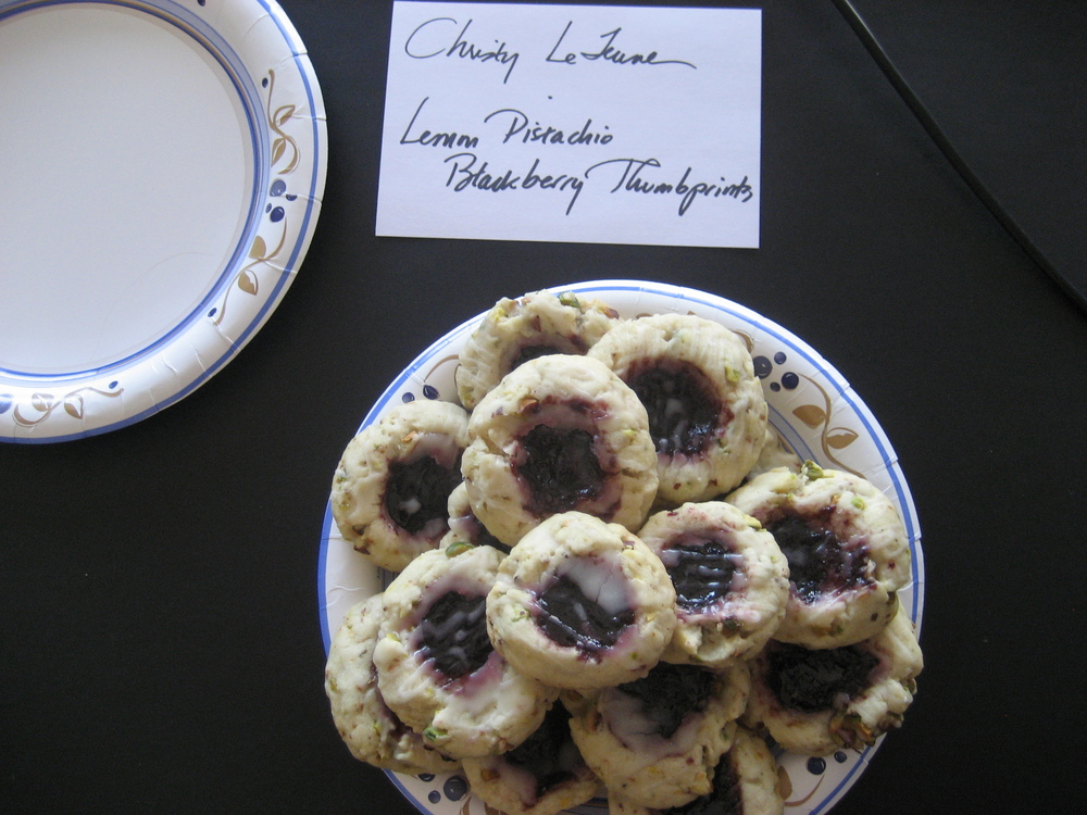 Christy Lejeune, Editor at Large, baked Joan Cossette's   Lemon Pistachio Blackberry Thumbprints  .  These large soft cookies had great texture and were bursting with flavor.  I loved the hint of lemon and that drizzle of honey glaze.