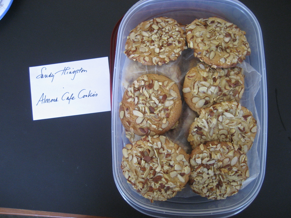 Sandy Hingston, Senior Editor, baked up Nancy Fahey's   Almond Cafe Cookies  .  They were big, gorgeous cookies with the perfect amount of chew and crunch.  I loved how the almond flavor was not overpowering.