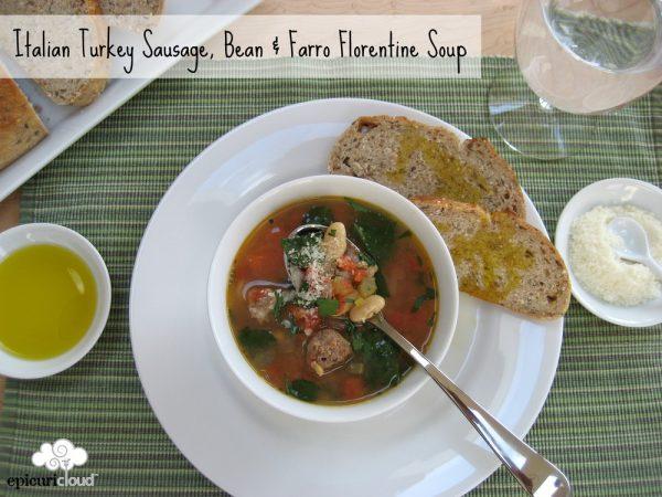 Italian Turkey Sausage, Bean & Farro Florentine Soup