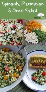 Collage Photo Showing Spinach Parmesan and Orzo Pasta Salad
