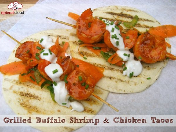 Grilled Buffalo Shrimp and Grilled Buffalo Chicken Tacos