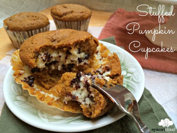 Cream Cheese Stuffed Pumpkin Cupcakes