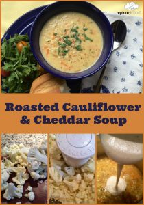 collage of photos showing recipe steps for Roasted Cauliflower & Cheddar Soup