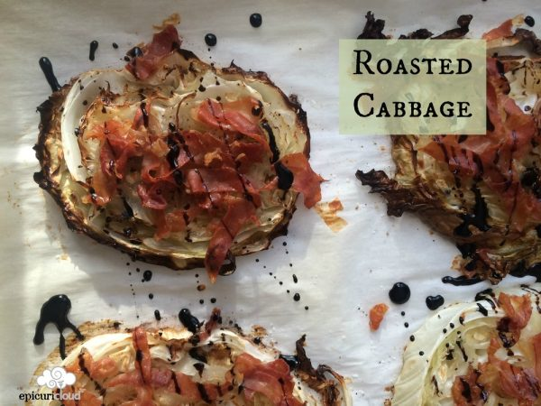 Roasted Cabbage Steaks with Prosciutto and Balsamic Glaze