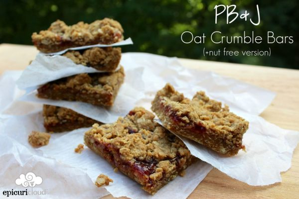 PB and J Oat Crumble Bars (+ nut free version)