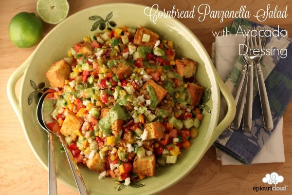 Cornbread Panzanella Salad with Avocado Dressing