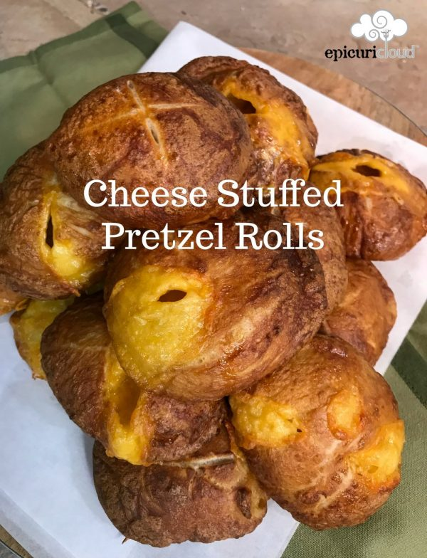 Cheese Stuffed Pretzel Rolls