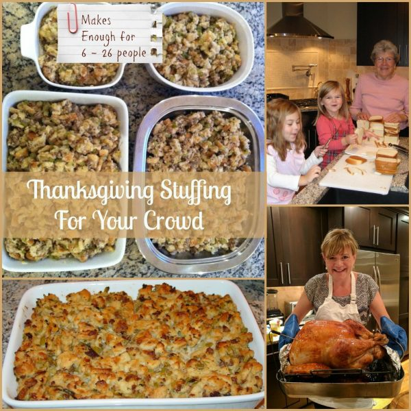 Thanksgiving Stuffing For Your Crowd (2 Recipe Sizes for 6 – 30 people)
