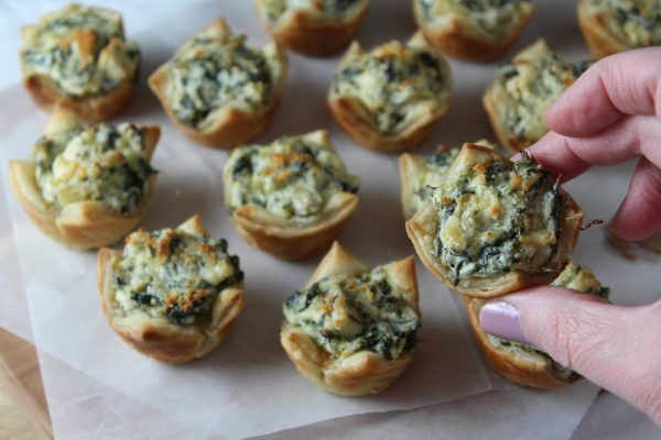 Hot Spinach and Artichoke Dip & Appetizer Puff Pastry Bites