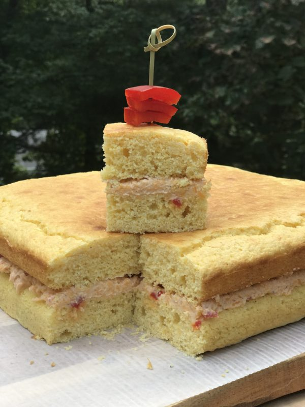 Cornbread Layer Cake with Pimento Cheese Filling