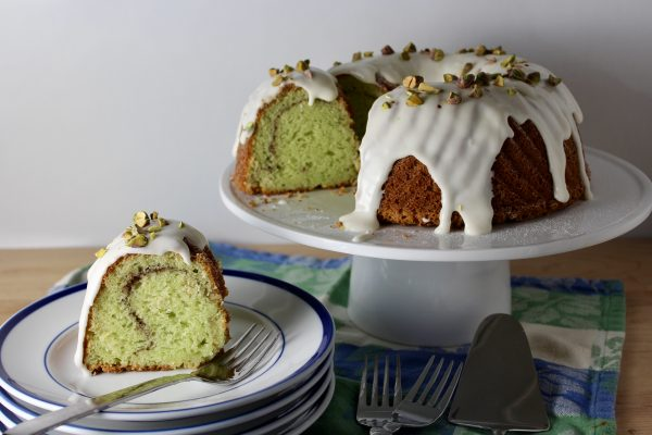 Pistachio Bundt Cake with Cream Cheese Glaze