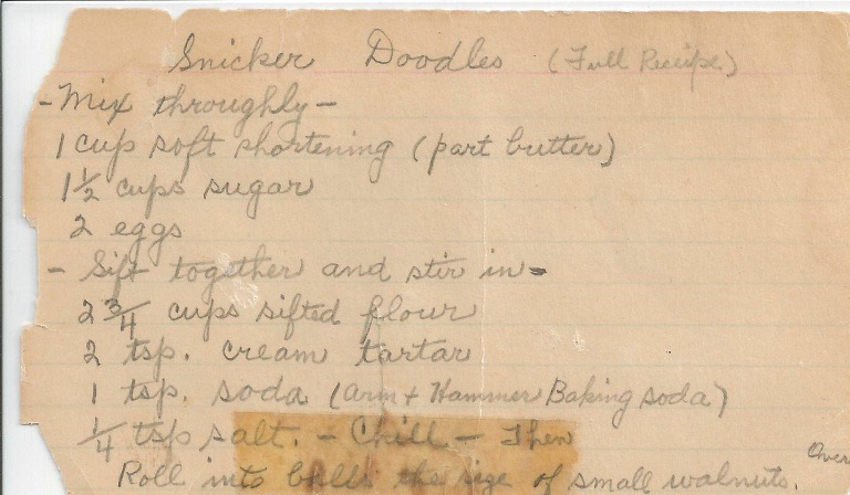 Front side of my Mom's Snicker Doodle Recipe Card