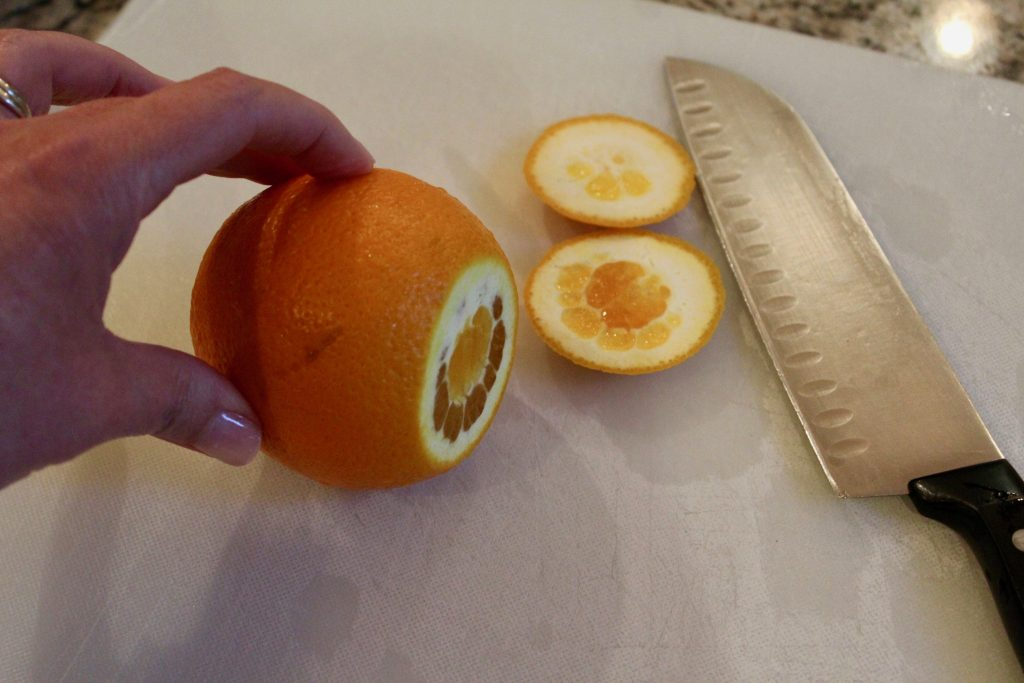 Navel orange on it's side, with top and bottom cut off. Showing first step of cutting orange segments.