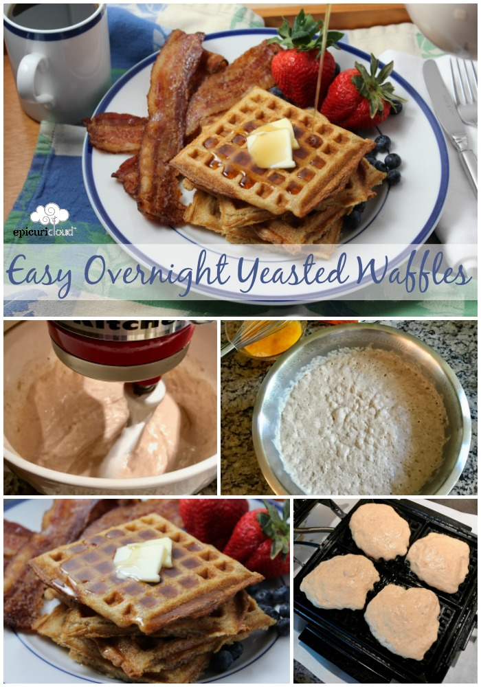 Easy Overnight Yeasted Waffles Collage Photo showing steps in making and finished waffles