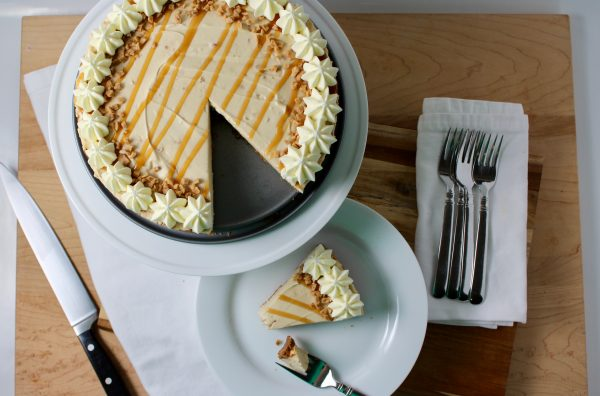 Salted Caramel Toffee No-Bake Cheesecake